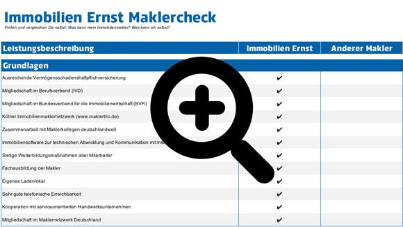 Maklervergleich und Check für Immobilieneigentümer in Köln welche Leistungen werden erbracht, hier haben Eigentümer eine Übersicht über die erbrachten Leistungen und können individuell vergleichen und auswählen wer der richtige ist